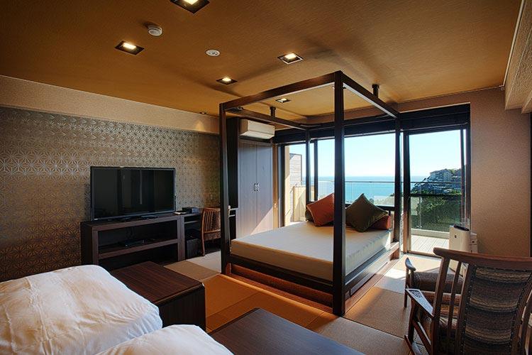 海がみえる露天風呂付客室デイベッド・キャビン