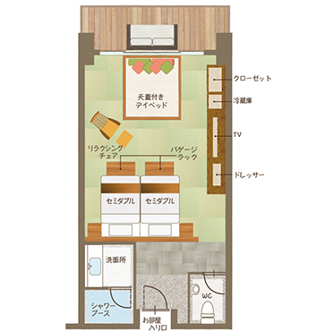露天風呂付デイベッド・キャビン平面図