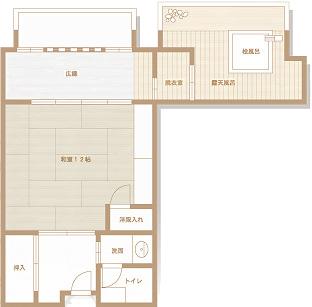 檜香る源泉露天風呂付客室平面図
