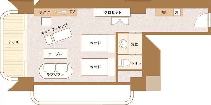 洋室ツインルーム平面図